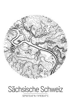 Saksisch Zwitserland | Kaart Topografie (Minimaal) van ViaMapia