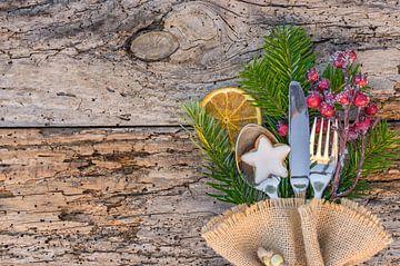 Kerstdiner menu tafel plaats instelling van Alex Winter