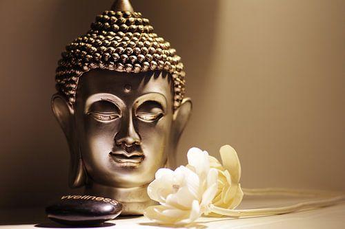 Buddha Kopf mit weißen Rosen von Tanja Riedel