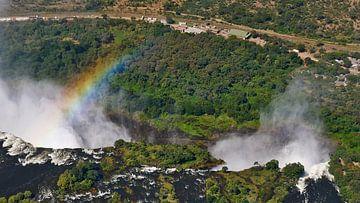 Victoria Watervallen van boven met regenboog