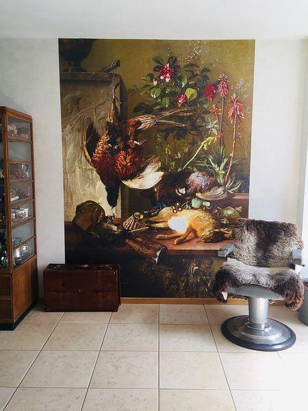 Kundenfoto: Stilleben mit Blumenstrauß und Jagdfasan - Georgius Jacobus Johannes van Os, auf fototapete