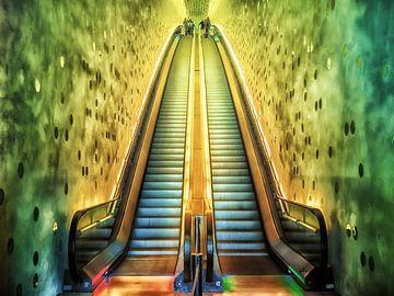 Hamburg - Rolltreppe zur Elbphilamonie-Plaza van Holger Debek
