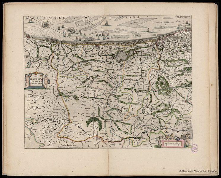 Westflandern und belgische Küste, Karte Joan Blaeu von Atelier Liesjes