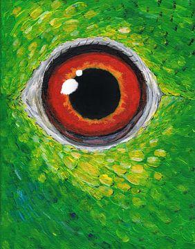 Amazone papegaai oog van Bianca Wisseloo