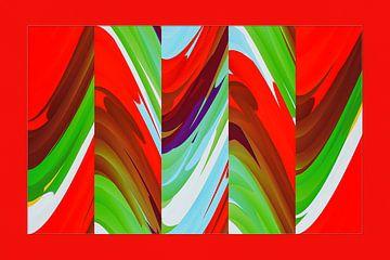 fotoGrafiek 89 (Red colored panel 1) van Hans Levendig (lev&dig fotografie)