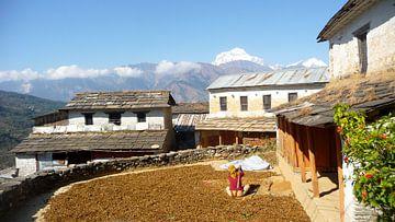 'Aan het werk', Kalopani- Nepal van Martine Joanne