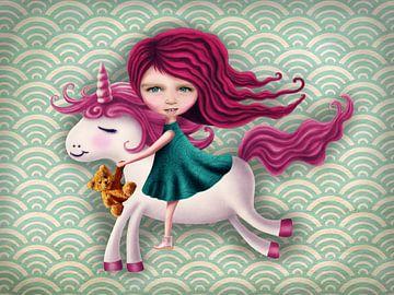 Meisje Unicorn retro - Mail je foto voor een persoonlijk tintje! van Anouk Muller - Funqy Wall Art