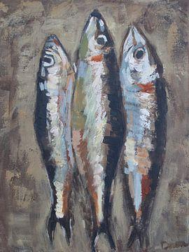 Le trois sardines taupe van Mieke Daenen