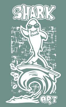 Surfing Shark - Schablonen-Illustration in Blau und Weiß von Emiel de Lange