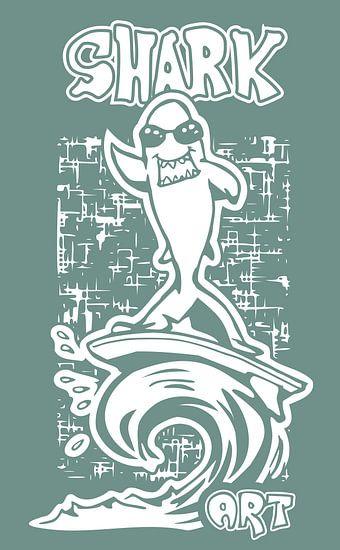 Surfende Haai - stencil illustratie in blauw en wit