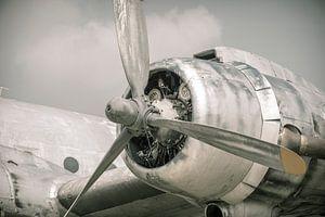 Propellor motor op een oud vliegtuig