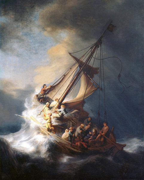 Christus in de storm op het meer van Galilea, Rembrandt van Rijn van Rembrandt van Rijn