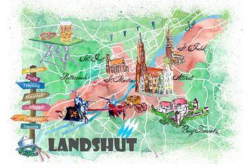 Landshut Bayern Illustrierte Karte mit Hauptstraßen Sehenswürdigkeiten und Highlights von Markus Bleichner