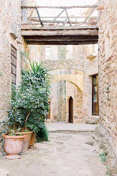 Pals - Mittelalterliches Dorf in Spanien | Enge alte südeuropäische Straße | Reisefotografie Wandbil von Milou van Ham