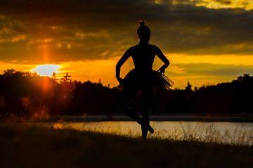 Prima Ballerina bij zonsondergang. van Manon Moller Fotografie