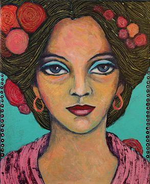 Lady with FlowerPower van Lucienne van Leijen