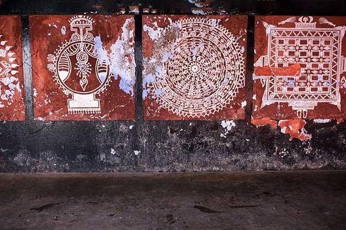 Traditionele muurschilderingen in Tempel