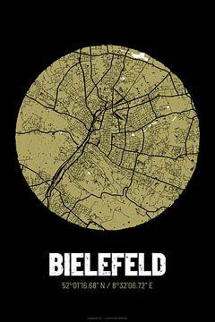 Bielefeld – City Map Design Stadtplan Karte (Grunge) von