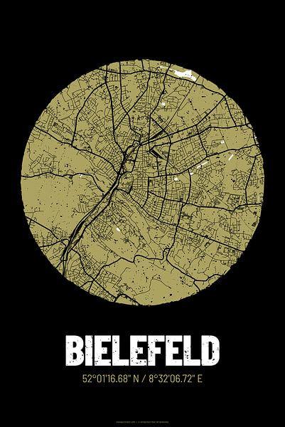 Bielefeld – City Map Design Stadtplan Karte (Grunge) von ViaMapia