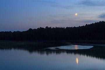 River en maan nacht landschap van