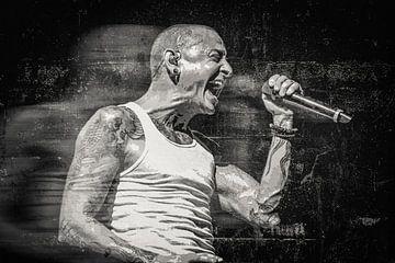 Linkin Park Chester Bennington Abstraktes Porträt in Schwarz-Weiß-Grundierung von Art By Dominic