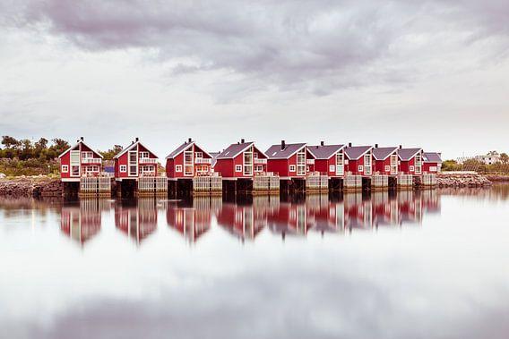 Vissershuisjes in Svolvaer Noorwegen