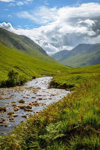 Etive rivier, Glen Etive, Schotland van