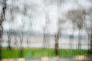Regen tegen het raam