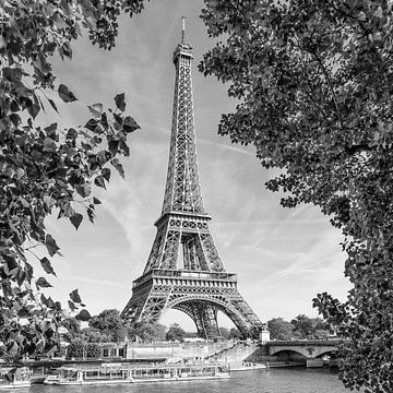 PARIS Tour Eiffel & Seine Monochrome sur Melanie Viola