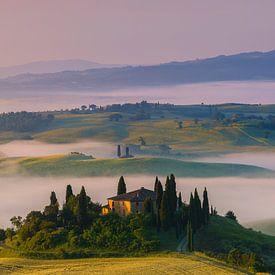 Zonsopkomst Podere Belvedere, Toscane van Henk Meijer Photography