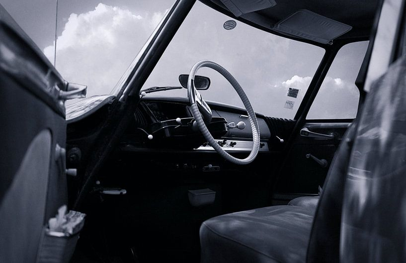 Citroën ID 19 Retro zwart-wit van Wim Schuurmans