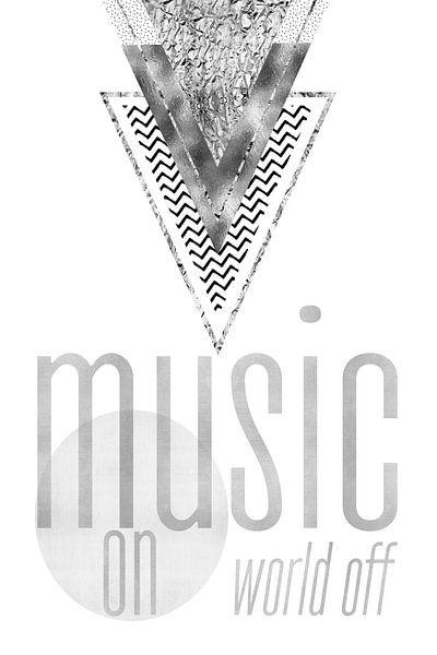 GRAPHIC ART Music on - World off   silber von Melanie Viola