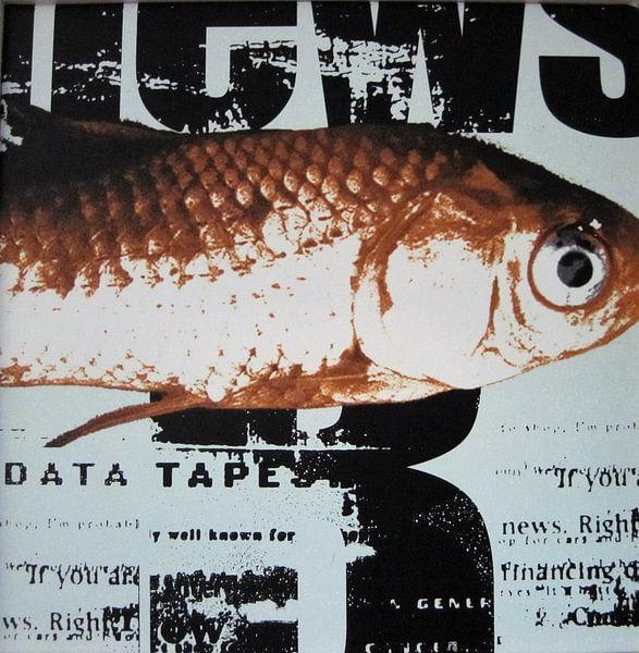 Fisch auf Zeitung, Goldfisch von Muurbabbels Typographic Design