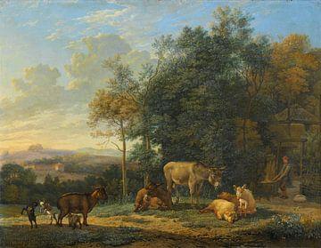 Paysage avec deux ânes, chèvres et cochons, Karel du Jardin sur