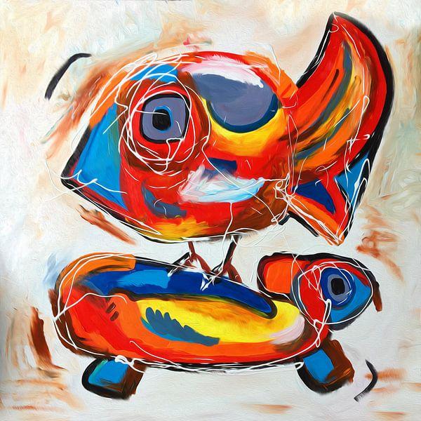 Heitere Arbeit im Cobra-Stil von einem Vogel und einer Schildkröte von Nicole Habets