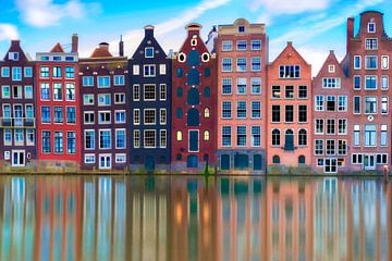 Damrak Grachtenpanden Amsterdam van Dennisart Fotografie