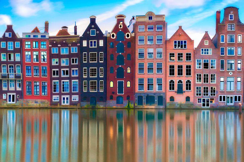Damrak Canal Houses Amsterdam von Dennisart Fotografie