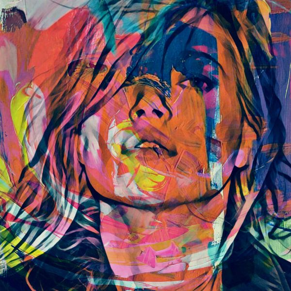 Kate Moss Abstrakt Game Part 2 van Felix von Altersheim