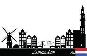 zeichnung der skyline von amsterdam