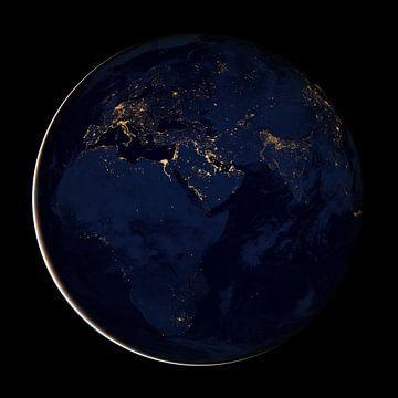 Globe de nuit avec vue sur l'Europe, le Moyen-Orient et l'Afrique sur Natasja Tollenaar