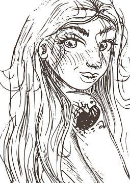 Porträt einer Frau - aus einer Serie von 3 - Tuschezeichnung von Emiel de Lange