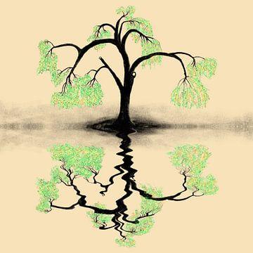 Water weerspiegeling,stilte van de treurwilg von Monique Schilder