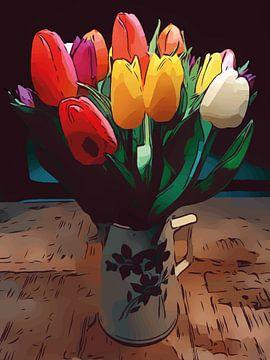 Frühling bunte Tulpen Blumenposter van Robert Biedermann