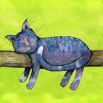 Schlafende lila Katze von Bianca Wisseloo