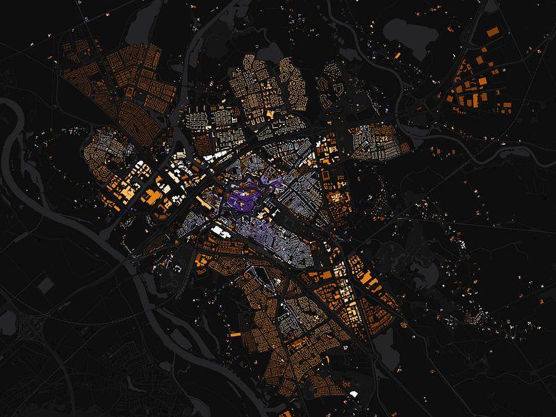Kaart van Zwolle abstract van Stef Verdonk