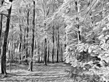 digitale kunst bos in zwart wit von Joke te Grotenhuis