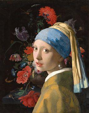 Das Mädchen mit dem Perlenohrring & Stillleben mit Blumen und einer Uhr von Eigenwijze Fotografie