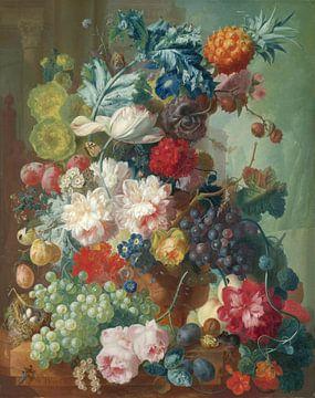 Obst und Blumen in einer Terrakotta-Vase, Jan van Os von Meesterlijcke Meesters