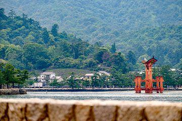 Torii bij de Itsukushima Shrine, Japan van H Verdurmen