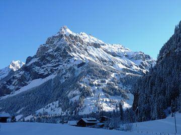 Besneeuwd berglandschap in Zwitserland van M de Vos